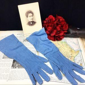 Vintage Sky Blue Elbow Length Evening Gloves
